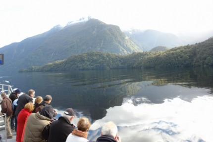 A few passengers on board the Fiordland Explorer seeking dolphins..