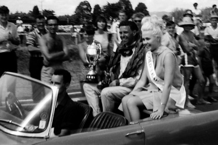 and the winner is Jim Clarke and gets to ride with Elaine Miscall, Miss New Zealand 1965.