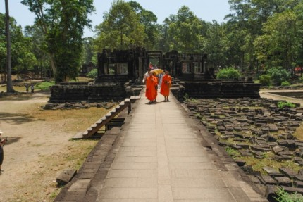 Monks visiting Baphuon Temple - Cambodia