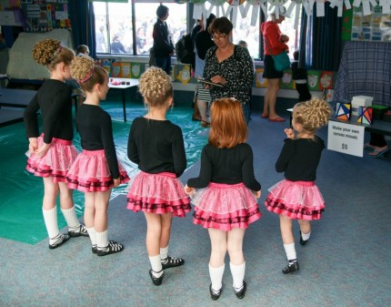 The Kelly Irish Dancers get their briefing...
